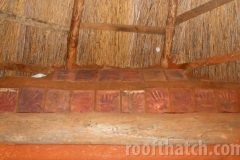 Cob Thatch Interior with Hand Impressions of MoonTree Community, IN