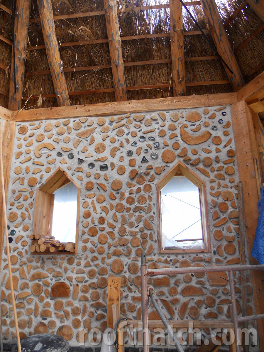 Cordwood Completed Wall and Thatch Chapel at Kinstone Circle