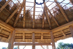 Thatch Interior with Natural Wood Poles