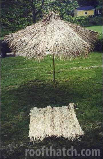 Natural Tiki Umbrella and Thatch Panel