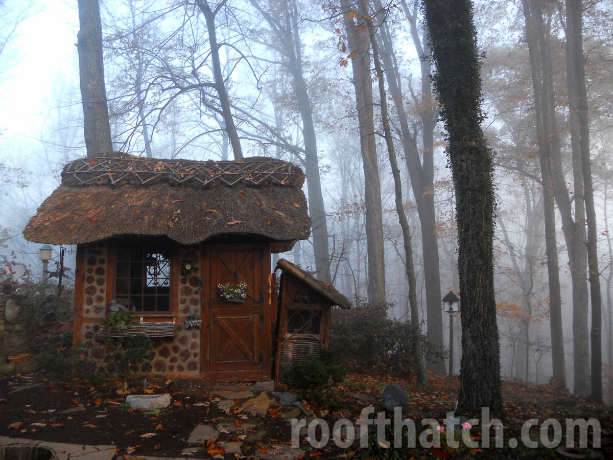 Cordwood Thatch Potting Shed and Rabbit Hutch