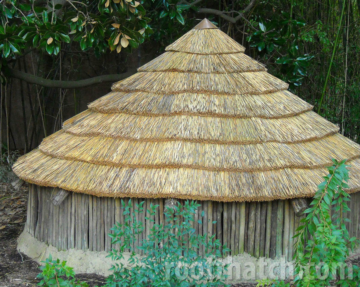 Eucalyptus and Thatched Panel Shade Structure