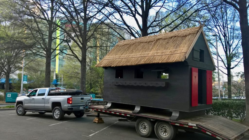 Thatched shed on trailer